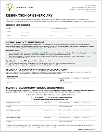 Designation of Beneficiary form